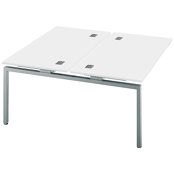 Commerce II Double Add On White Bench Desks