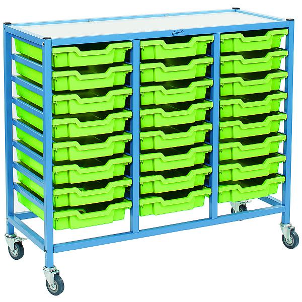 Gratnells Handy Shallow Tray 3 Column Storage Trolley