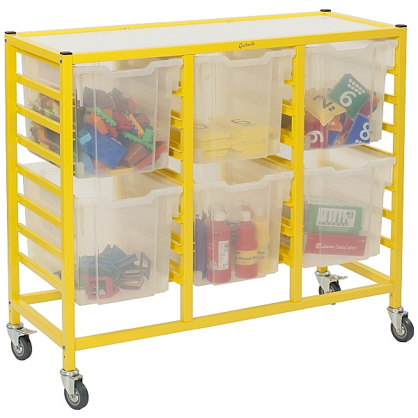 Gratnells Dynamis Collection Jumbo Tray 3 Column Storage Trolley