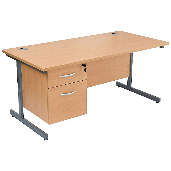 NEXT DAY Karbon K1 Rectangular Cantilever Office Desks with Single Fixed Pedestal