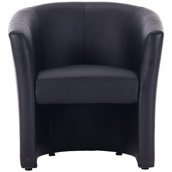 Brighton Black Bonded Leather Tub Chair