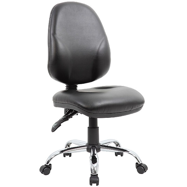 Comfort Ergo 2-Lever Leather Operator Chair With Chrome Base