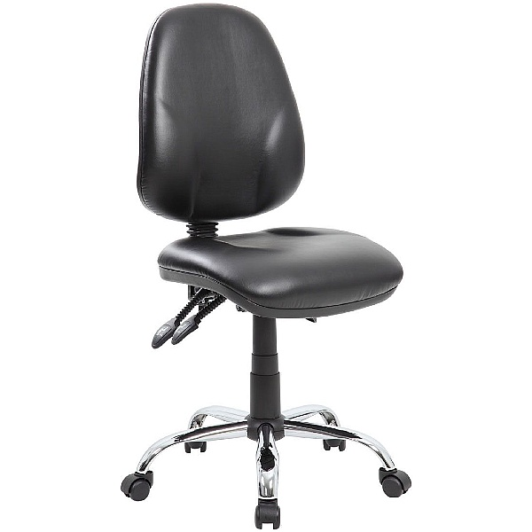 Comfort Ergo 3-Lever Leather Operator Chairs With Chrome Base