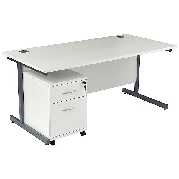 NEXT DAY Karbon K1 Rectangular Cantilever Office Desks with Under Desk Mobile Pedestal