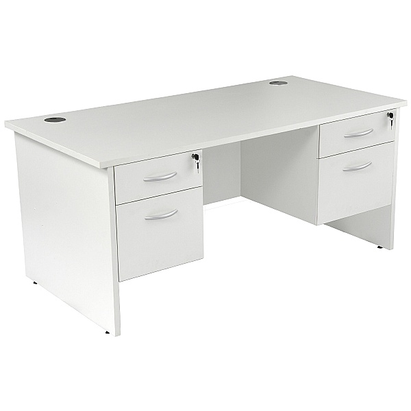 NEXT DAY Karbon K2 Rectangular Panel End Office Desks with Double Fixed Pedestals