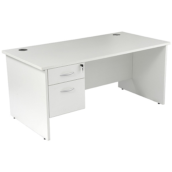 NEXT DAY Karbon K2 Rectangular Panel End Office Desks with Single Fixed Pedestal