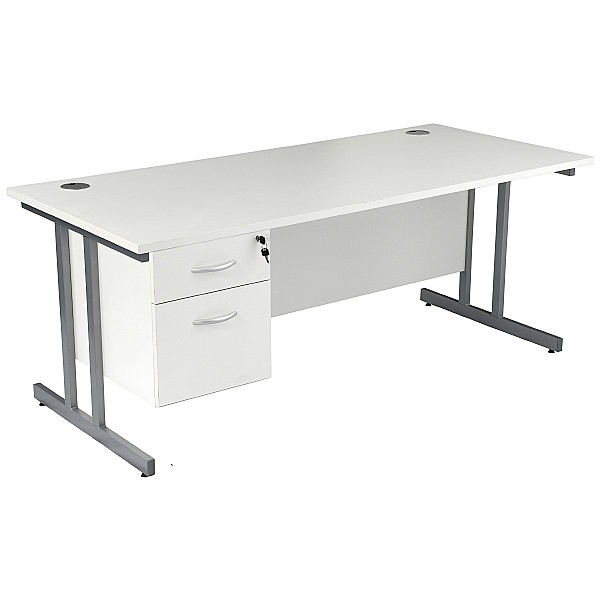 NEXT DAY Karbon K3 Rectangular Deluxe Cantilever Desk With Single Fixed Pedestal