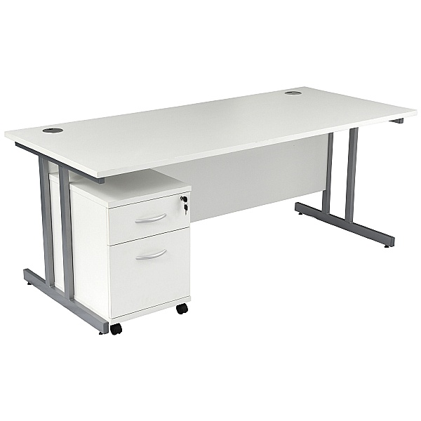 NEXT DAY Karbon K3 Rectangular Deluxe Cantilever Desk With Single Mobile Pedestal