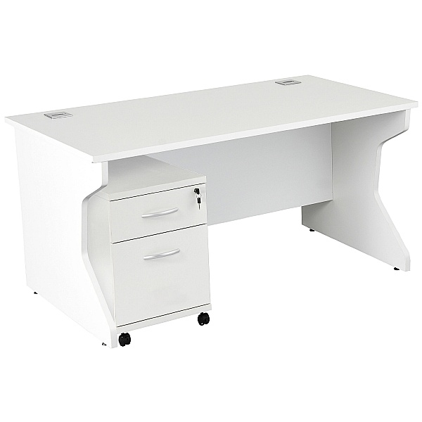 NEXT DAY Karbon K4 Rectangular Panel End Desk With Mobile Pedestal