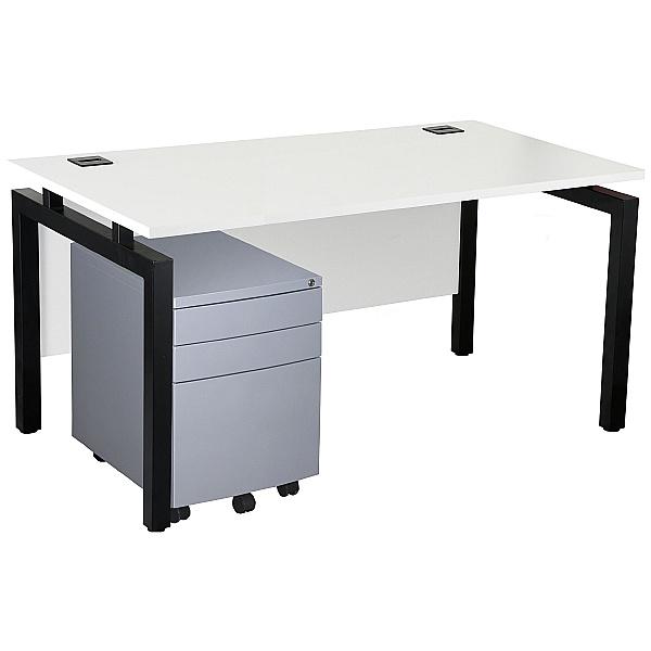NEXT DAY Karbon K4 Rectangular Bench Desks with 3 Drawer Metal Mobile Pedestal