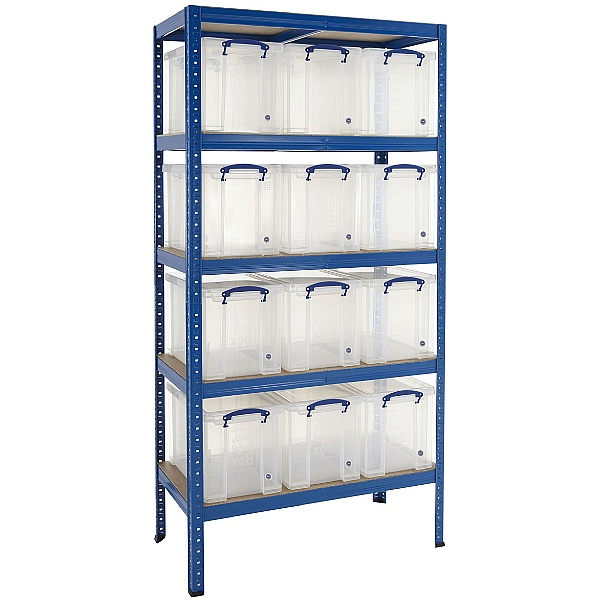 Value Shelving Bay With 12 x 24 Litre Really Useful Boxes