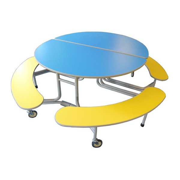 Oval Graduate 8 Seat Folding Dining Units With Benches