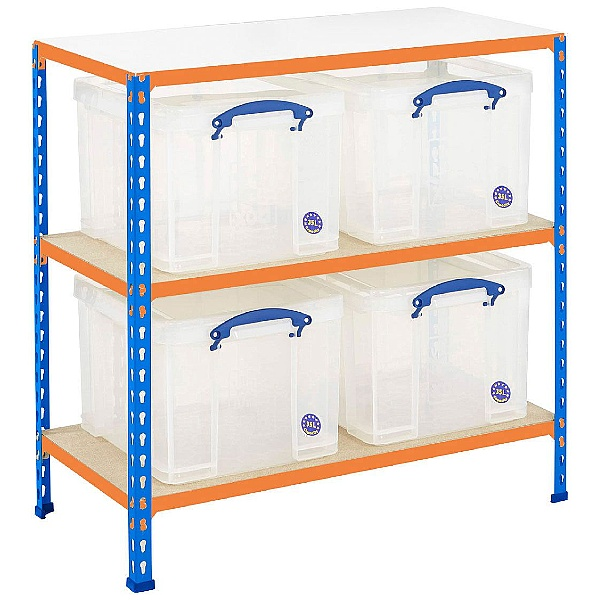 BiG340 Shelving Bay With 4 x 35 Litre Really Useful Boxes