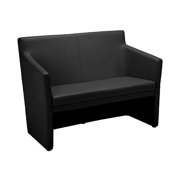 Club Square 2 Seater Leather Faced Tub Sofa