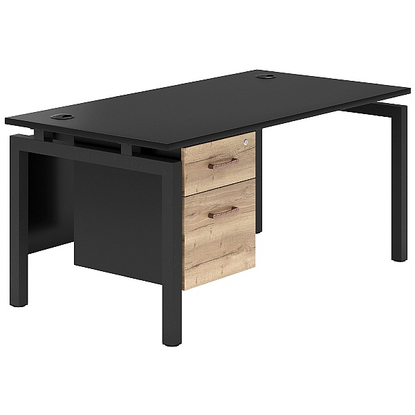 NEXT DAY Noir 4 Leg Rectangular Bench Desk With Single Fixed Pedestal