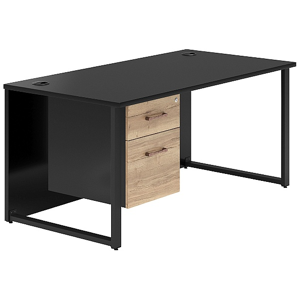 NEXT DAY Noir Hoop Leg Rectangular Desk With Single Fixed Pedestal