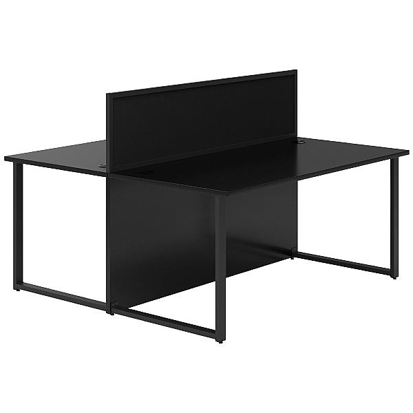 Noir Hoop Leg Back to Back Desks