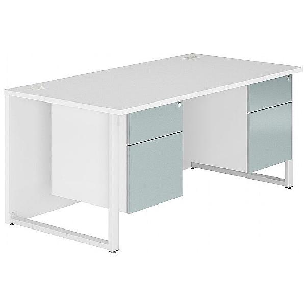 Fluid Hoop Leg Rectangular Desk With Double Fixed Pedestals