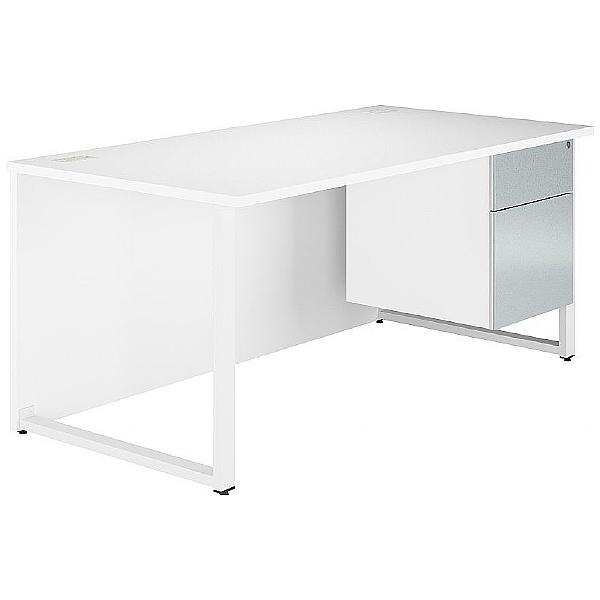 Fluid Hoop Leg Rectangular Desk With Single Fixed Pedestal