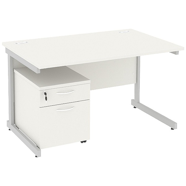 Next Day Vogue White Rectangular Cantilever Desks With Mobile Pedestal