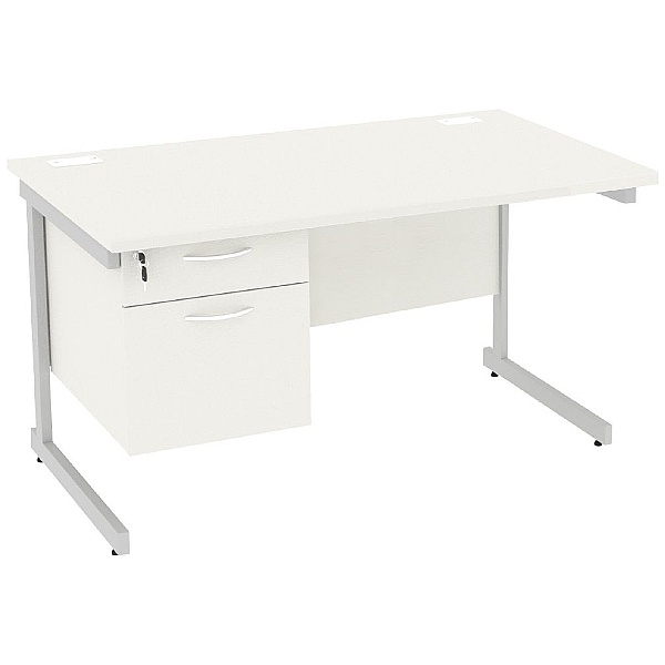 Next Day Vogue White Rectangular Cantilever Desks With Single Fixed Pedestal