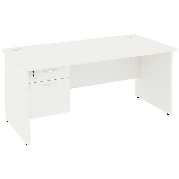 Next Day Vogue White Rectangular Panel End Desks With Single Fixed Pedestal