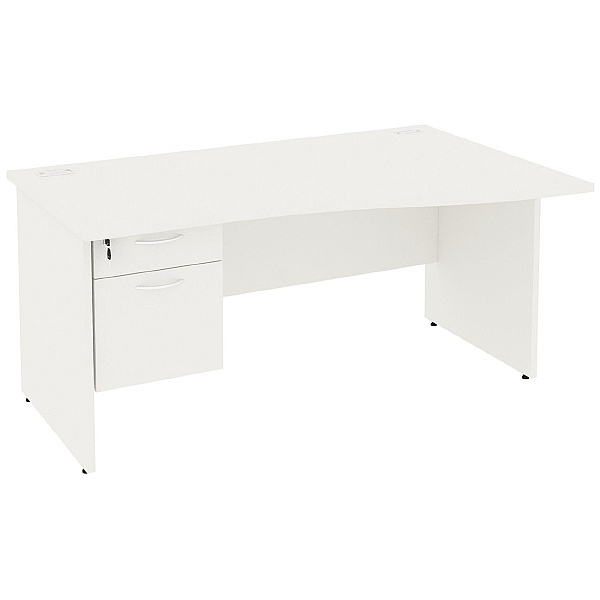 Next Day Vogue White Wave Panel End Desks With Single Fixed Pedestal