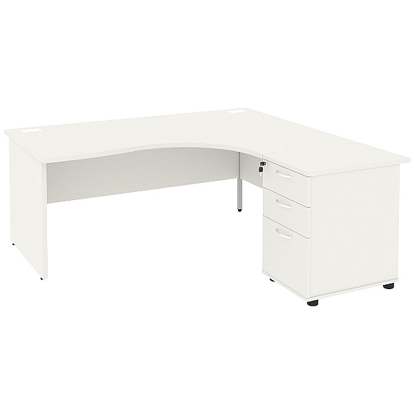 Next Day Vogue White Ergonomic Panel End Desks With Desk High Pedestal