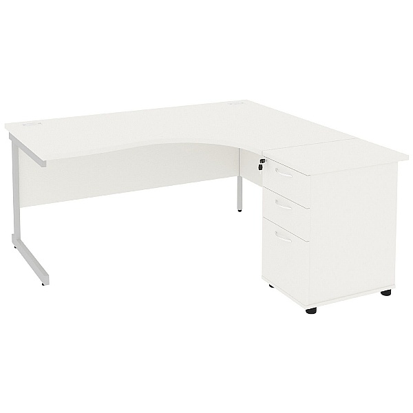 Next Day Vogue White Ergonomic Cantilever Desks With Desk High Pedestal