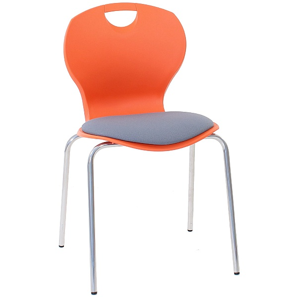 Evo Polypropylene Four Leg Classroom Chairs With Upholstered Seat