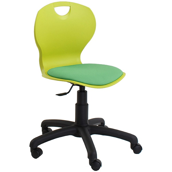 Evo Polypropylene Swivel Chair With Upholstered Seat