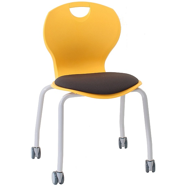 Evo Polypropylene Four Leg Mobile Classroom Chair With Upholstered Seat