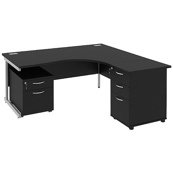 Next Day Eclipse Black Ergonomic Cantilever Desks With Desk High & Mobile Pedestal