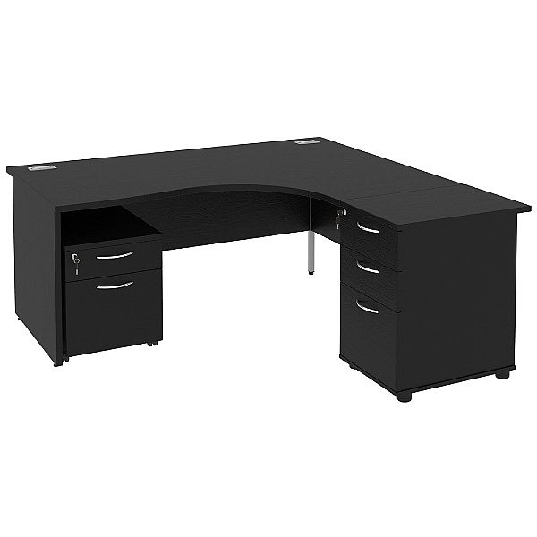 Next Day Eclipse Black Ergonomic Panel End Desks With Desk High & Mobile Pedestal