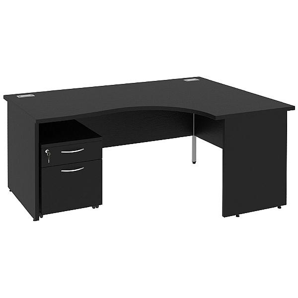 Next Day Eclipse Black Ergonomic Panel End Desks With Mobile Pedestal