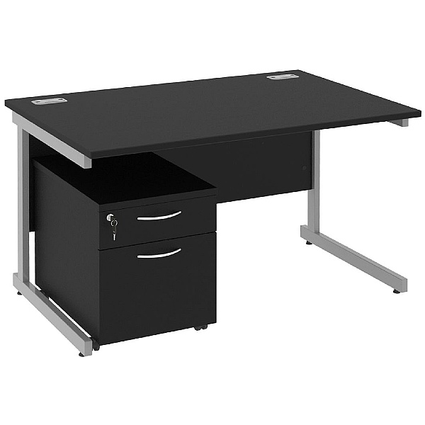 Next Day Eclipse Black Rectangular Cantilever Desks With Mobile Pedestal