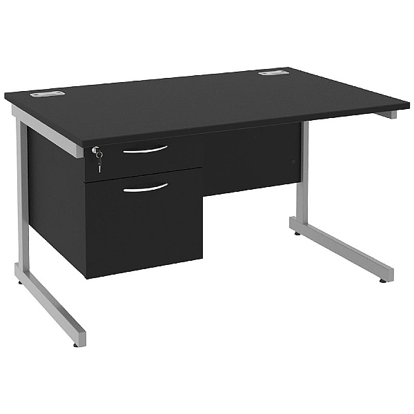Next Day Eclipse Black Rectangular Cantilever Desks With Single Fixed Pedestal