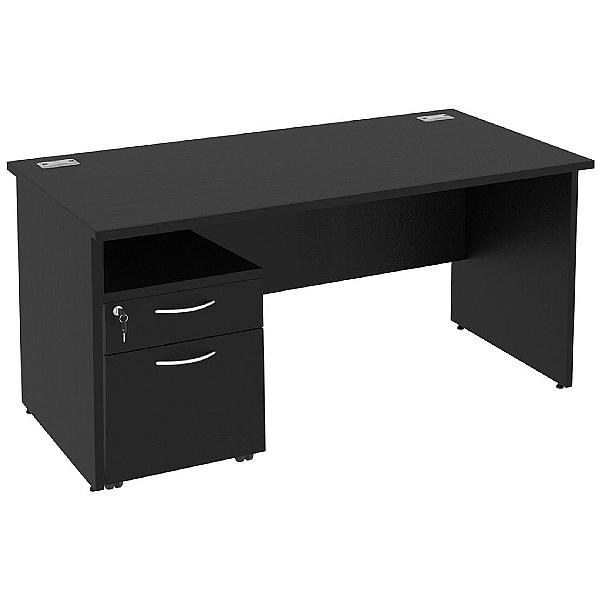 Next Day Eclipse Black Rectangular Panel End Desks With Mobile Pedestal