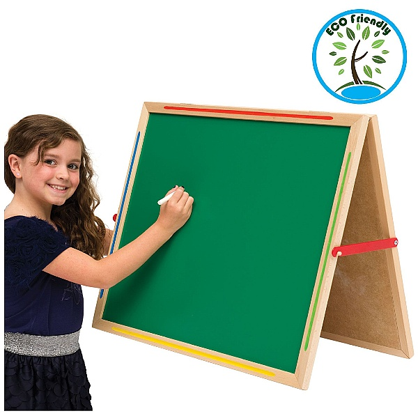 Little Acorns Solid Wood Share 'N' Write Desktop Whiteboard / Chalkboards