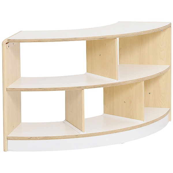 Open Back 2 Shelf Curved Classroom Storage Unit