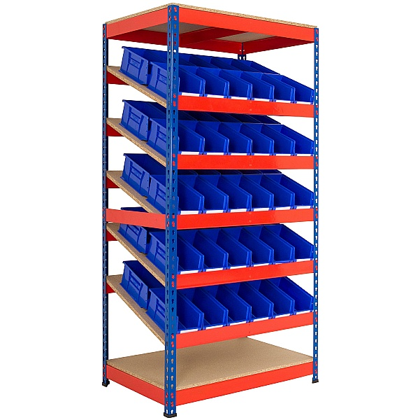 Kanban Inclined Rivet Shelving System and Bin Kits