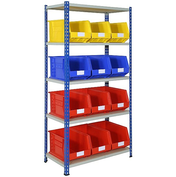 Rivet Shelving and Bin Kit with 12 Bins