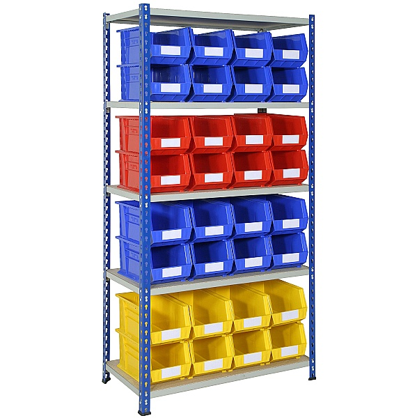 Rivet Shelving and Bin Kit with 32 Bins
