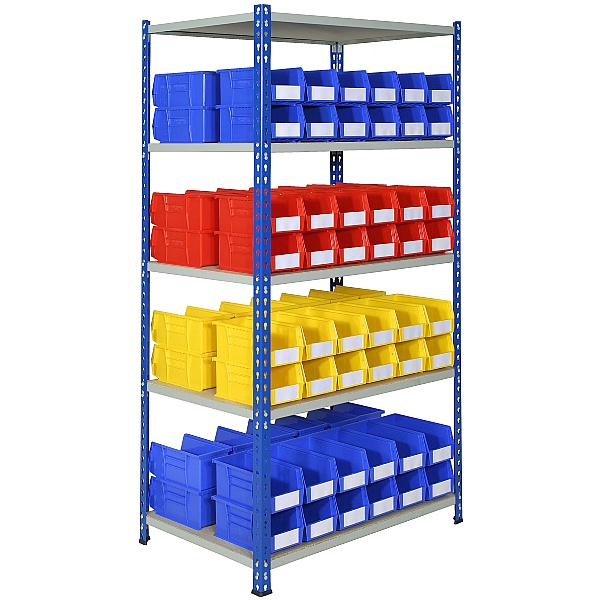 Rivet Shelving and Bin Kit with 96 Bins