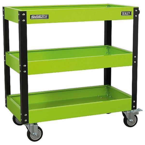 Sealey Heavy Duty Workshop Trolley - 3 Levels - Hi-Vis Green