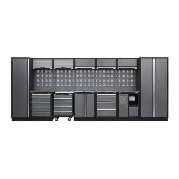 Sealey Superline Pro Modular Storage with Stainless Steel Worktop Package - A