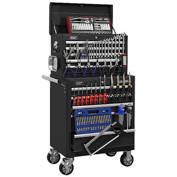 Sealey Black 10 Drawer Topchest & Rollcab Combination with 147pc Tool Kit