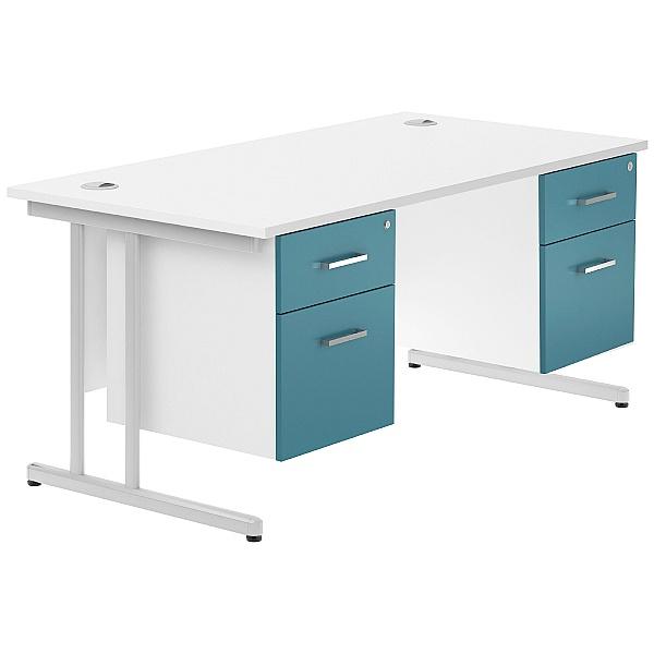 NEXT DAY Kaleidoscope Cantilever Double Fixed Pedestal Desks