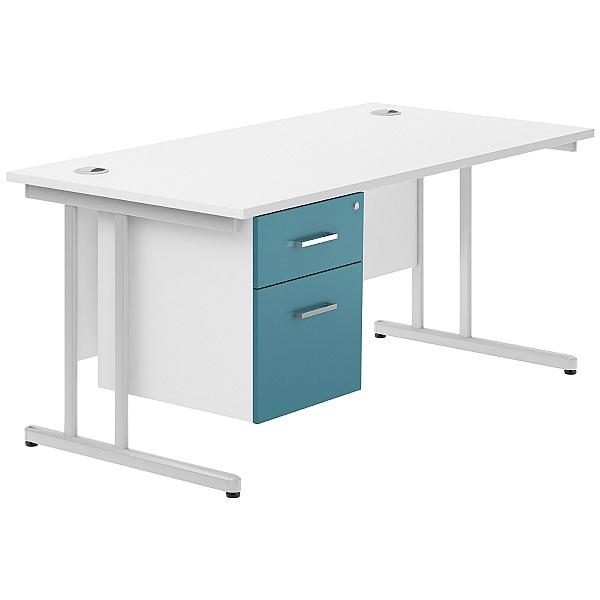 NEXT DAY Kaleidoscope Cantilever Single Fixed Pedestal Desks