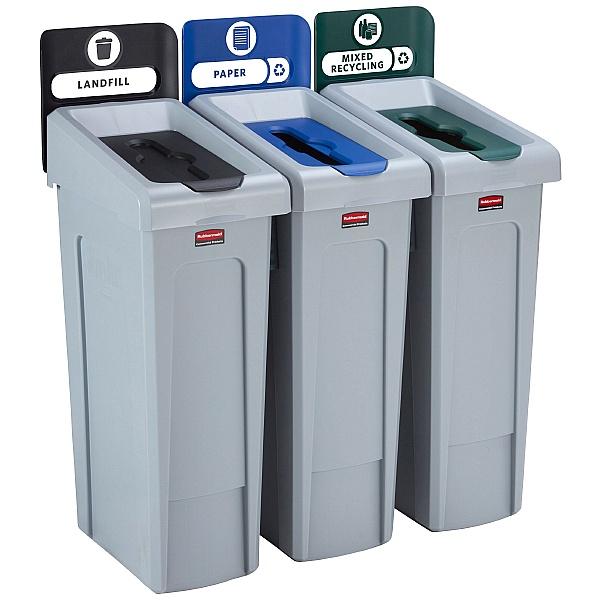Slim Jim Recycling Station 3 Stream Bin Kit 2